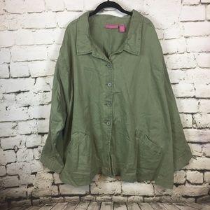 Woman Within Army green denim jacket size 5X